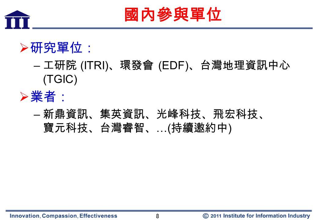 8 國內參與單位  研究單位: – 工研院 (ITRI) 、環發會 (EDF) 、台灣地理資訊中心 (TGIC)  業者: – 新鼎資訊、集英資訊、光峰科技、飛宏科技、 寶元科技、台灣睿智、 …( 持續邀約中 )