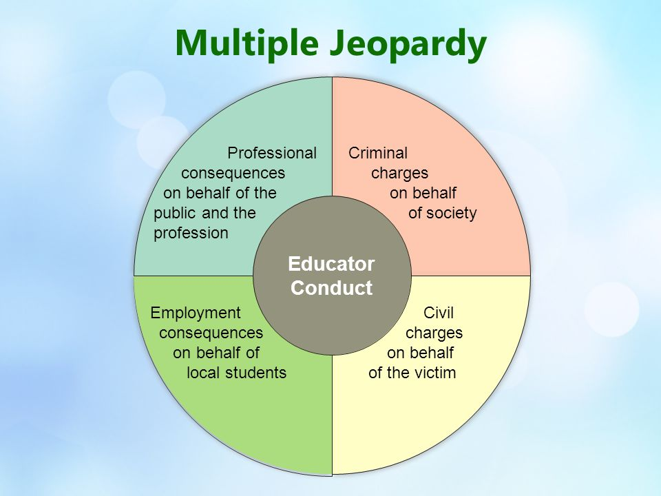 Civil charges on behalf of the victim Employment consequences on behalf of local students Professional consequences on behalf of the public and the profession Criminal charges on behalf of society Educator Conduct Multiple Jeopardy