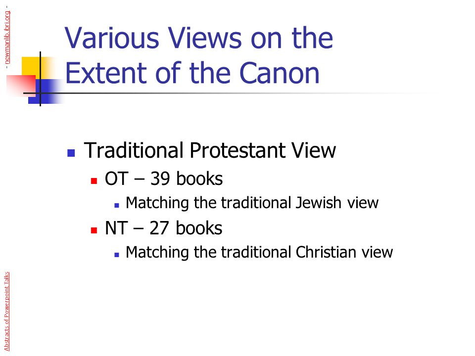 Various Views on the Extent of the Canon Traditional Protestant View OT – 39 books Matching the traditional Jewish view NT – 27 books Matching the tra