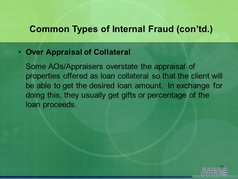 25 Common Types of Internal Fraud (con'td.) Over Appraisal of Collateral Some AOs/Appraisers overstate the appraisal of properties offered as loan col