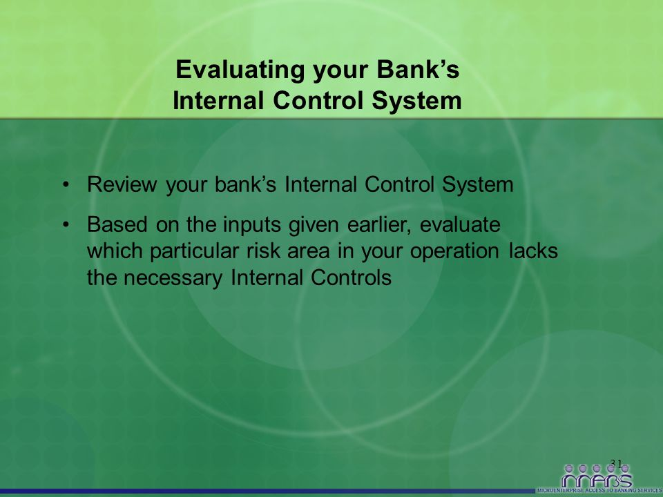 31 Evaluating your Bank's Internal Control System Review your bank's Internal Control System Based on the inputs given earlier, evaluate which particu