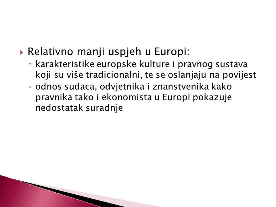  Relativno manji uspjeh u Europi: ◦ karakteristike europske kulture i pravnog sustava koji su više tradicionalni, te se oslanjaju na povijest ◦ odnos sudaca, odvjetnika i znanstvenika kako pravnika tako i ekonomista u Europi pokazuje nedostatak suradnje