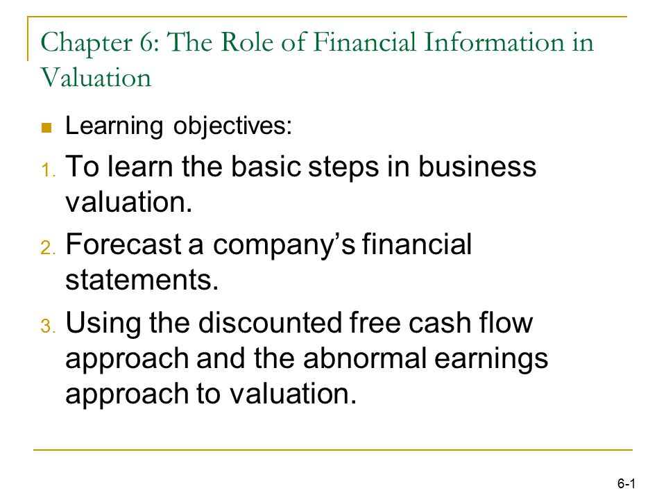 32 Learning Objective : The Abnormal Earnings Approach (the Residual Income Model) to valuation