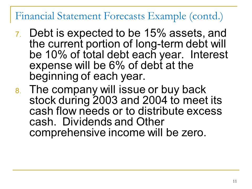 11 Financial Statement Forecasts Example (contd.) 7. Debt is expected to be 15% assets, and the current portion of long-term debt will be 10% of total