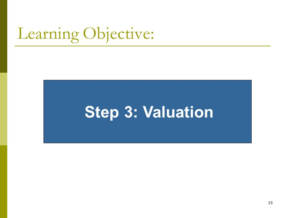 15 Learning Objective: Step 3: Valuation