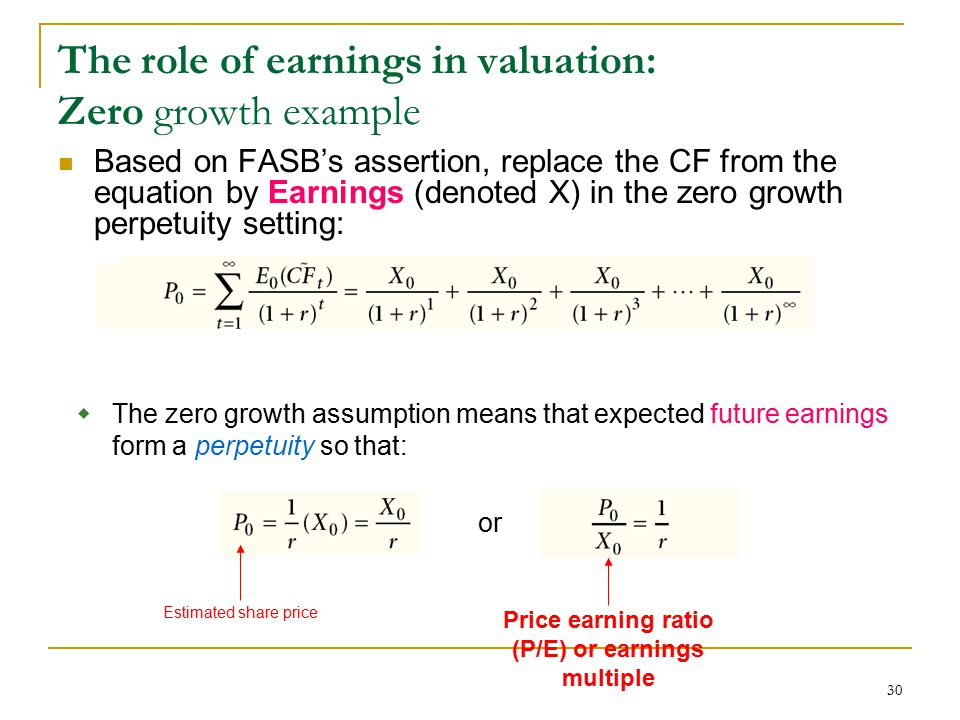 30 Based on FASB's assertion, replace the CF from the equation by Earnings (denoted X) in the zero growth perpetuity setting: The role of earnings in