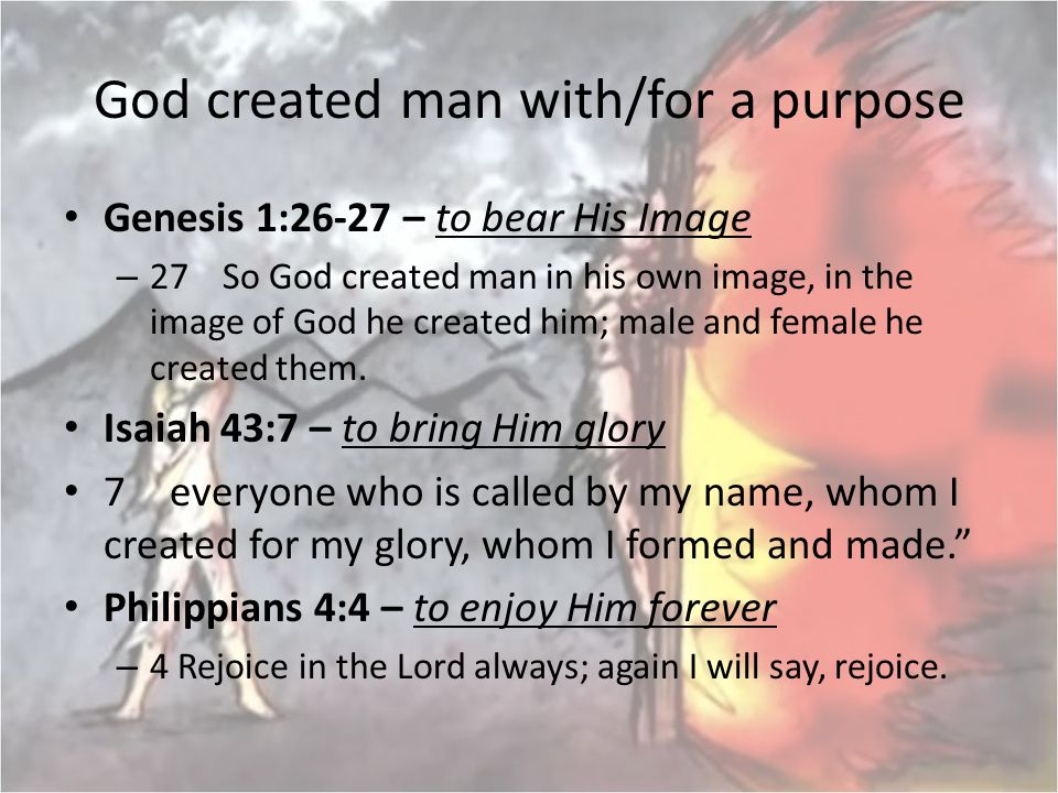 God created man with/for a purpose Genesis 1:26-27 – to bear His Image – 27 So God created man in his own image, in the image of God he created him; m