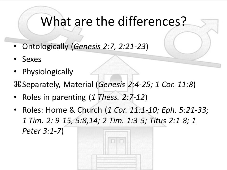 What are the differences? Ontologically (Genesis 2:7, 2:21-23) Sexes Physiologically zSeparately, Material (Genesis 2:4-25; 1 Cor. 11:8) Roles in pare