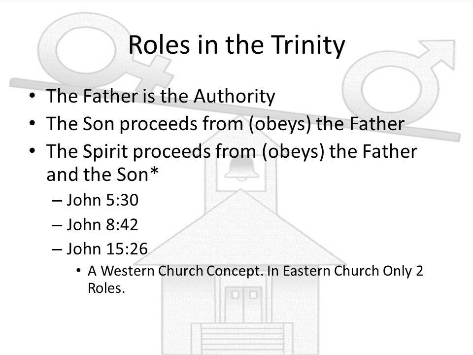 Roles in the Trinity The Father is the Authority The Son proceeds from (obeys) the Father The Spirit proceeds from (obeys) the Father and the Son* – J