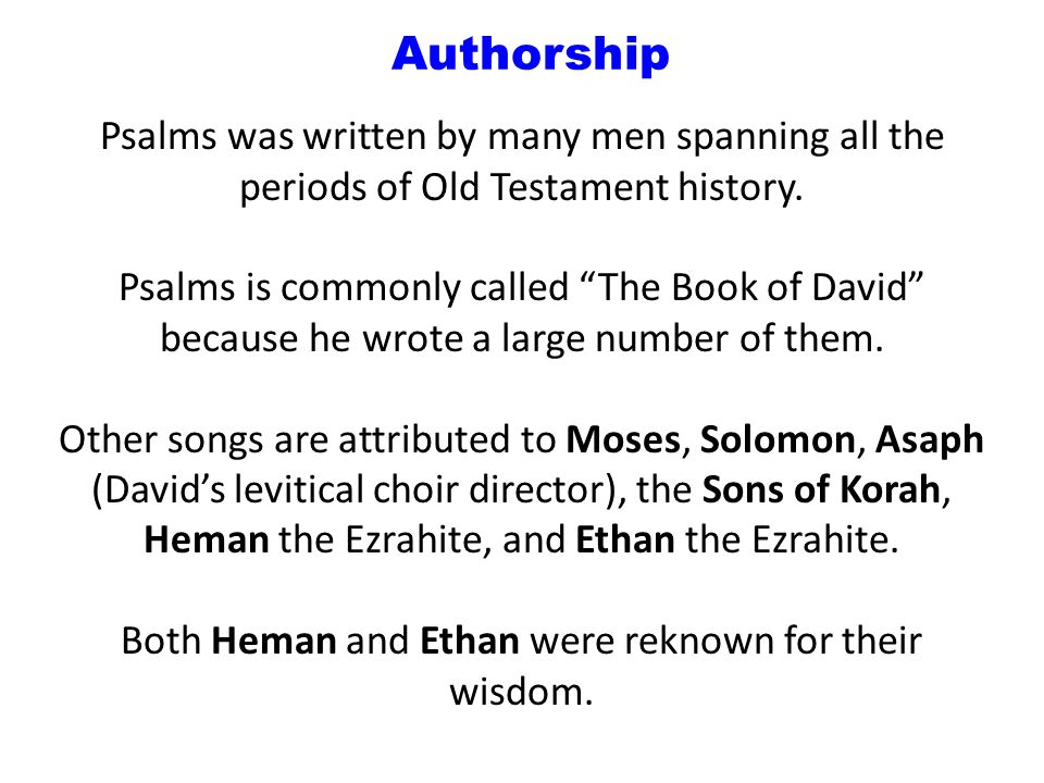 Authorship AuthorHow many.Which Psalm(s).