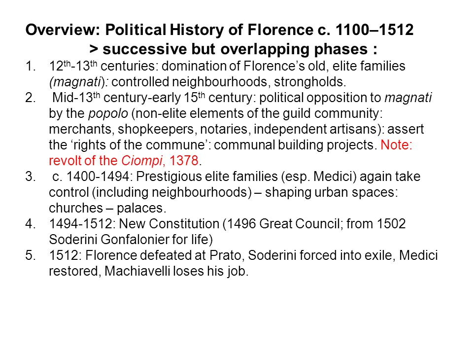Overview: Political History of Florence c.
