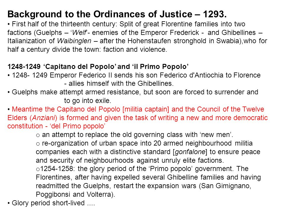 Background to the Ordinances of Justice – 1293.