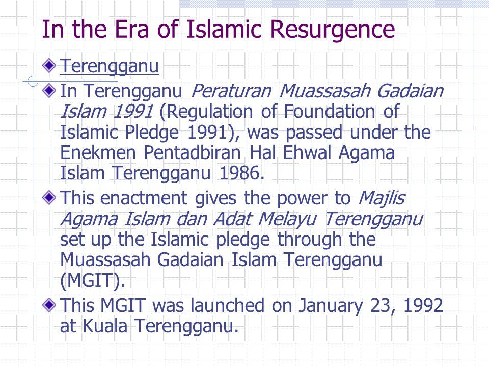 In Kelantan ….In Kelantan the scheme of Al-Rahn is set up on March 12, 1993.