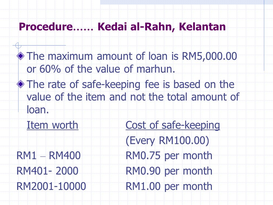 Example of the calculation of fee Pawn items (value):RM5000 Total loan:RM2500 Pawn period: 3 months The Pawnor has to pay for fee: RM5000 is (50 x RM100) The fee is: 50 x RM1 (cost per month for every RM 100) x 3 months = RM150.00