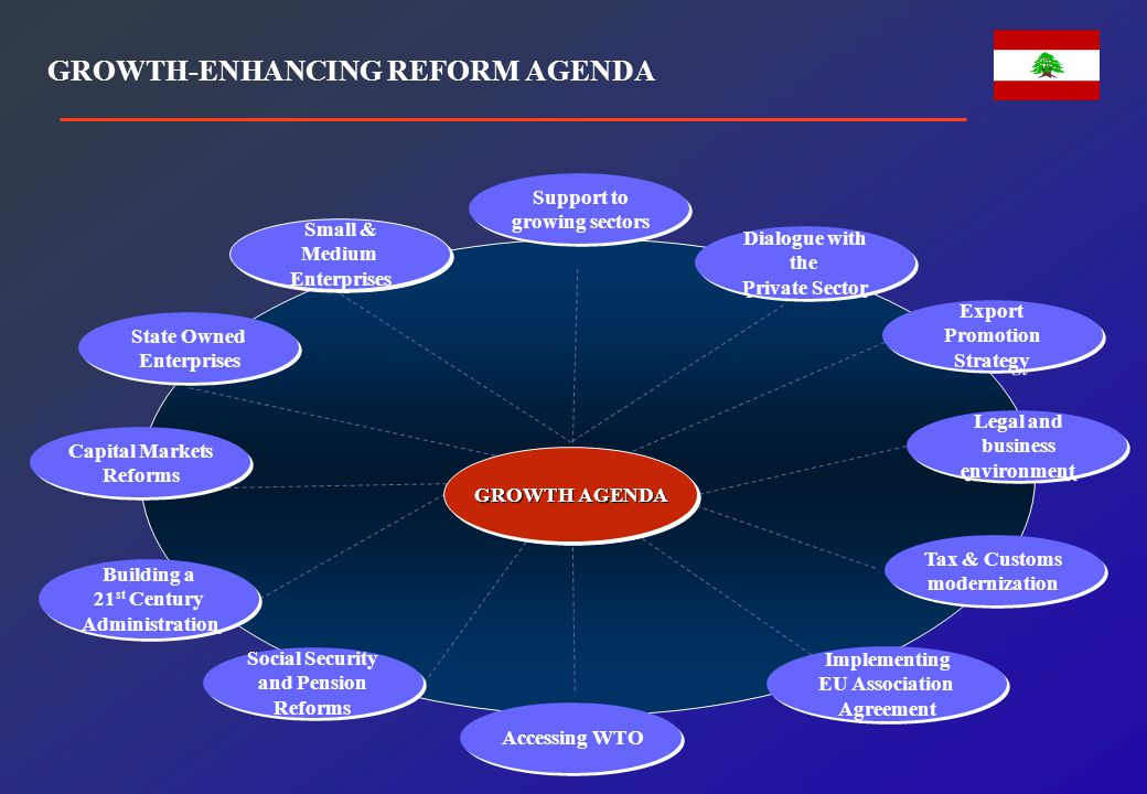 Legal and business environment Tax & Customs modernization Support to growing sectors Accessing WTO Social Security and Pension Reforms Building a 21