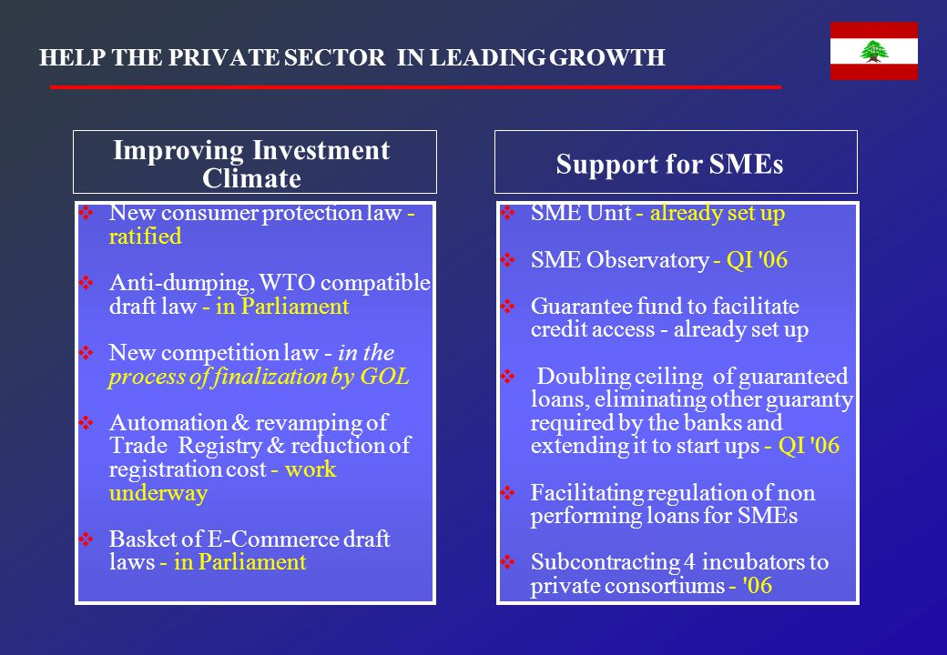 HELP THE PRIVATE SECTOR IN LEADING GROWTH  New consumer protection law - ratified  Anti-dumping, WTO compatible draft law - in Parliament  New comp