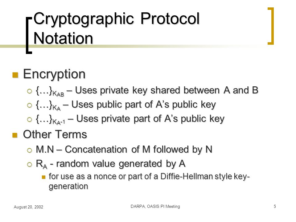 August 20, 2002 DARPA, OASIS PI Meeting5 Cryptographic Protocol Notation Encryption Encryption  {…} K AB – Uses private key shared between A and B  {…} K A – Uses public part of A's public key  {…} K A -1 – Uses private part of A's public key Other Terms Other Terms  M.N – Concatenation of M followed by N  R A - random value generated by A for use as a nonce or part of a Diffie-Hellman style key- generation for use as a nonce or part of a Diffie-Hellman style key- generation
