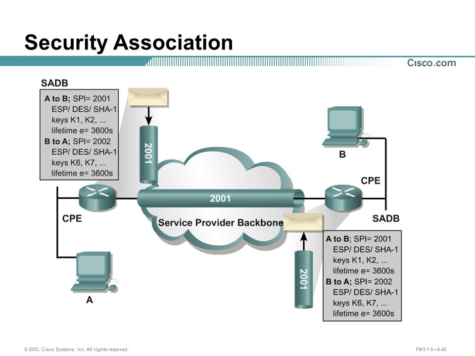 © 2003, Cisco Systems, Inc. All rights reserved. FNS 1.0—6-45 Security Association