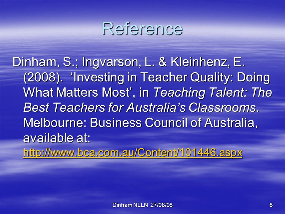 Dinham NLLN 27/08/0839 Contact Details Professor Stephen Dinham Research Director – Teaching, Learning and Leadership ACER Private Bag 55 Camberwell Vic 3124 Email: dinham@acer.edu.au dinham@acer.edu.au Phone: 03 9277 5463 Website: www.acer.edu.au/staffbio/dinham_stephen.html www.acer.edu.au/staffbio/dinham_stephen.html