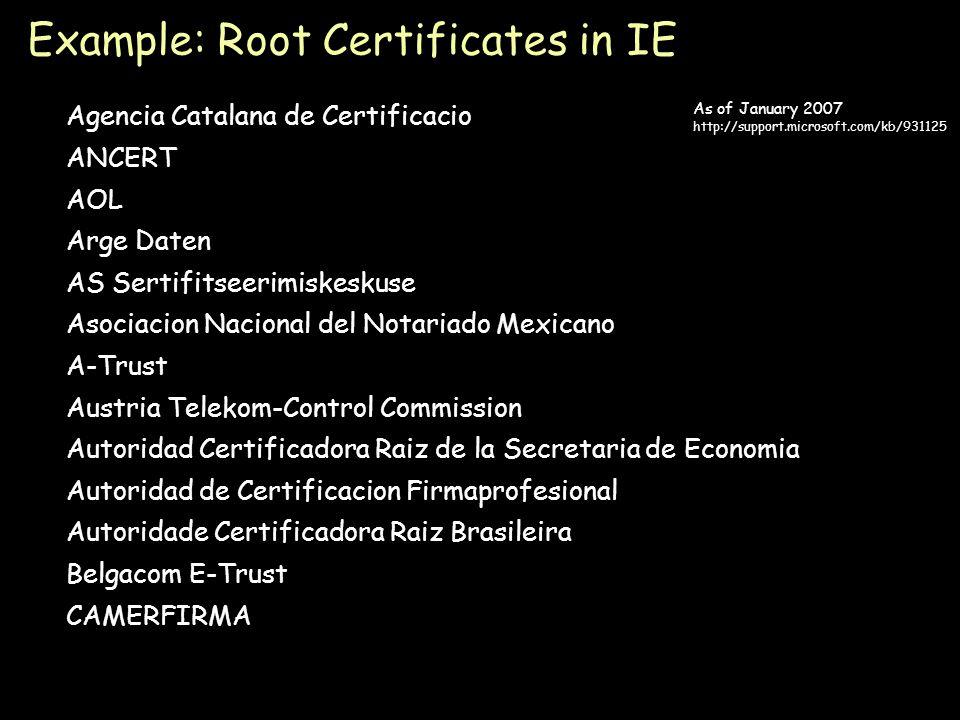 Page 45 Agencia Catalana de Certificacio ANCERT AOL Arge Daten AS Sertifitseerimiskeskuse Asociacion Nacional del Notariado Mexicano A-Trust Austria Telekom-Control Commission Autoridad Certificadora Raiz de la Secretaria de Economia Autoridad de Certificacion Firmaprofesional Autoridade Certificadora Raiz Brasileira Belgacom E-Trust CAMERFIRMA Example: Root Certificates in IE As of January 2007 http://support.microsoft.com/kb/931125