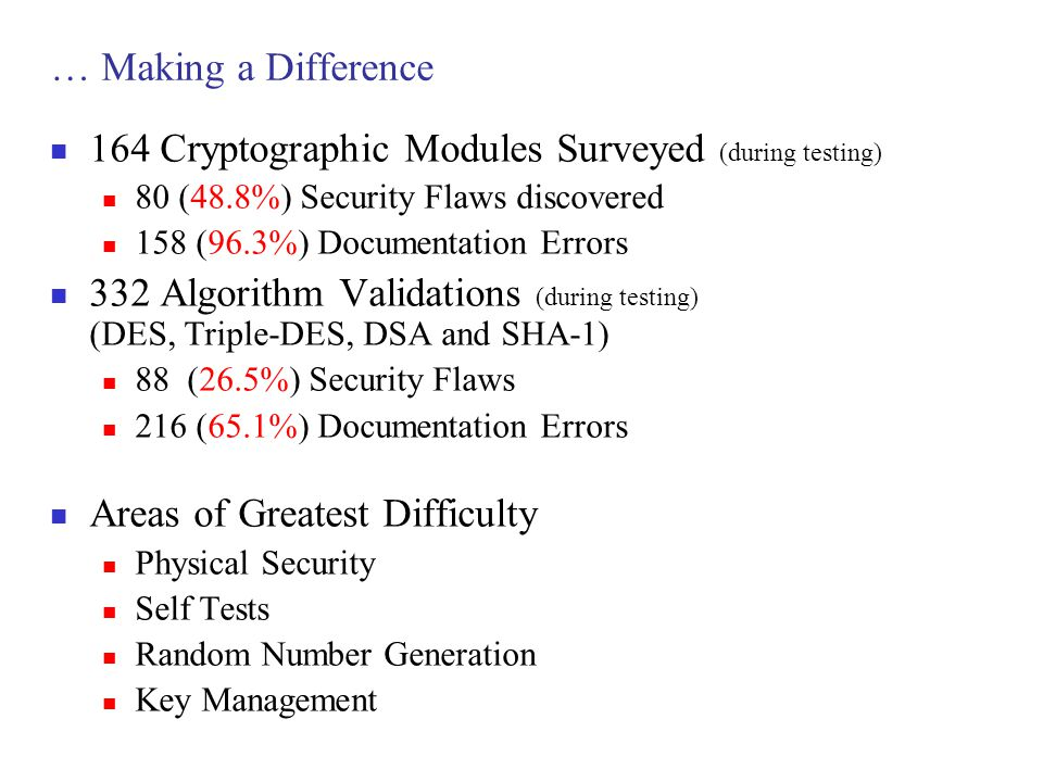 … Making a Difference 164 Cryptographic Modules Surveyed (during testing) 80 (48.8%) Security Flaws discovered 158 (96.3%) Documentation Errors 332 Al