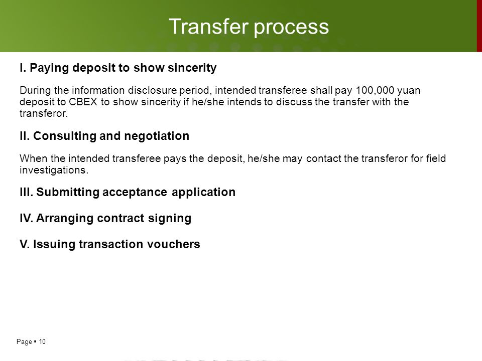 Page  10 Transfer process I. Paying deposit to show sincerity During the information disclosure period, intended transferee shall pay 100,000 yuan de