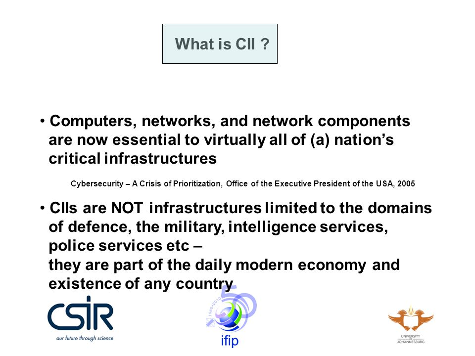 CSIRTs in SA 2005 – Cobus Venter & Bernard Taute 2007 – JCSE 2008 – No up to date info could be found (any inputs???) The cost of cybercrime, http://www.polity.org.za/article.php?a_id=69510 SA takes first steps towards Computer Security Incident Response Team (CSIRT), http://cbr.co.za/news.aspx?pklNewsId=27281&pklCategoryID=378
