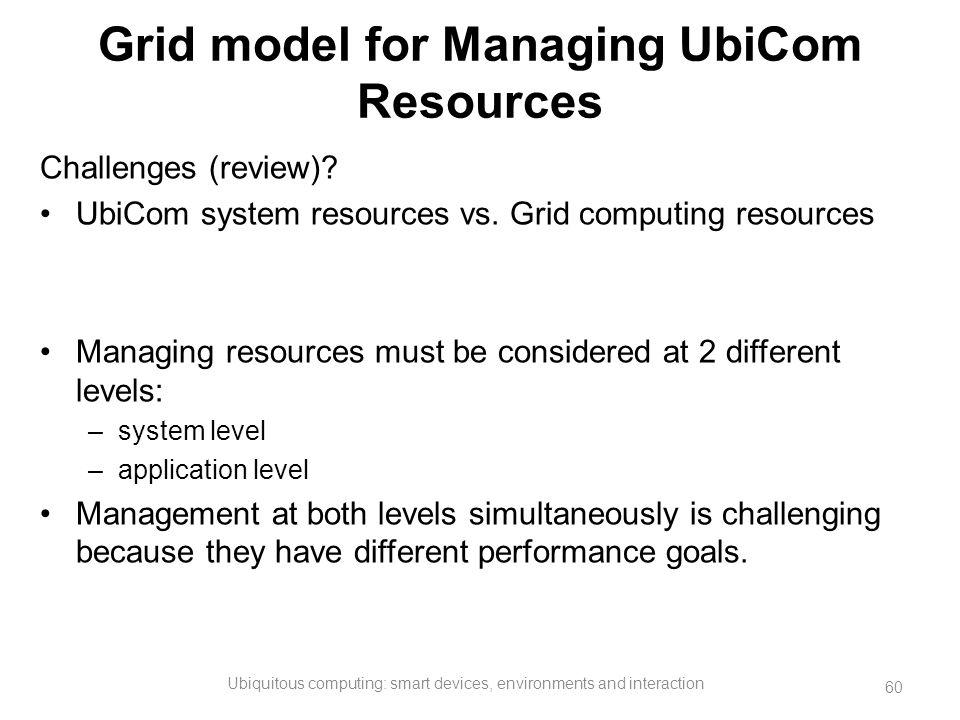 Grid model for Managing UbiCom Resources Challenges (review)? UbiCom system resources vs. Grid computing resources Managing resources must be consider