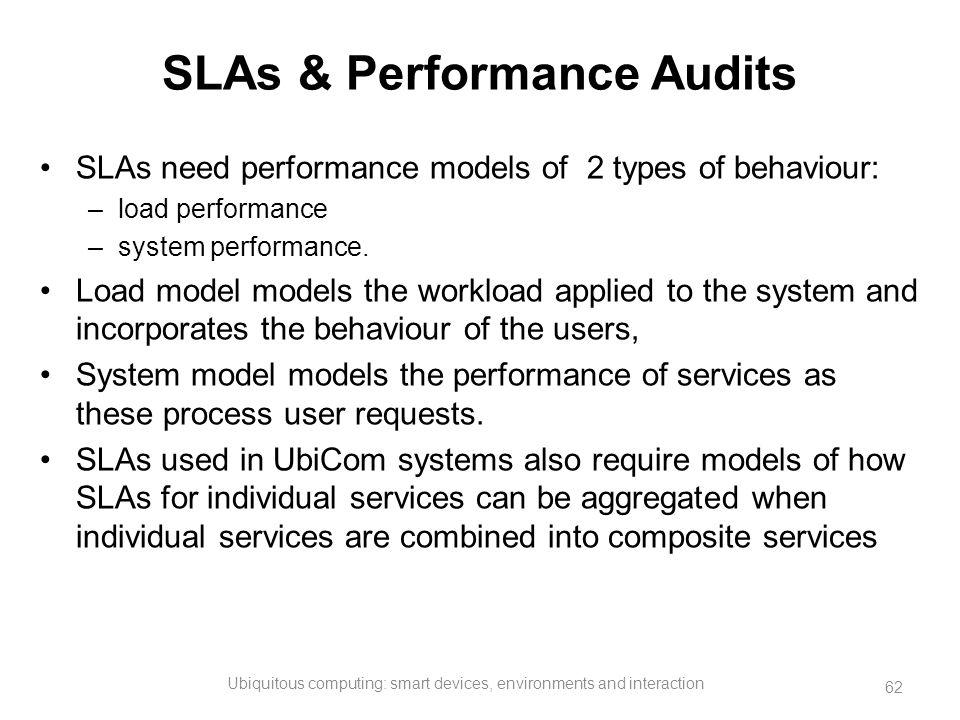 SLAs & Performance Audits SLAs need performance models of 2 types of behaviour: –load performance –system performance. Load model models the workload