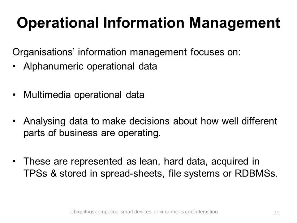 Operational Information Management Organisations' information management focuses on: Alphanumeric operational data Multimedia operational data Analysi