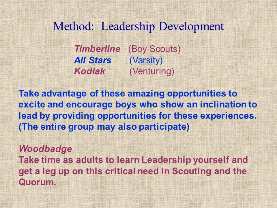 Method: Leadership Development Timberline (Boy Scouts) All Stars (Varsity) Kodiak (Venturing) Take advantage of these amazing opportunities to excite