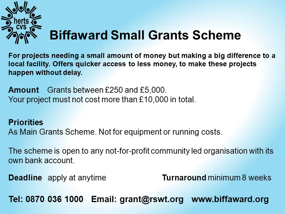 Biffaward Small Grants Scheme For projects needing a small amount of money but making a big difference to a local facility.