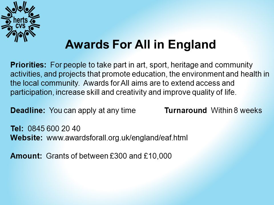 Sport England Favour multi-sports projects with significant partnership funding (at least 2:1) Average grant £50k - £100k.