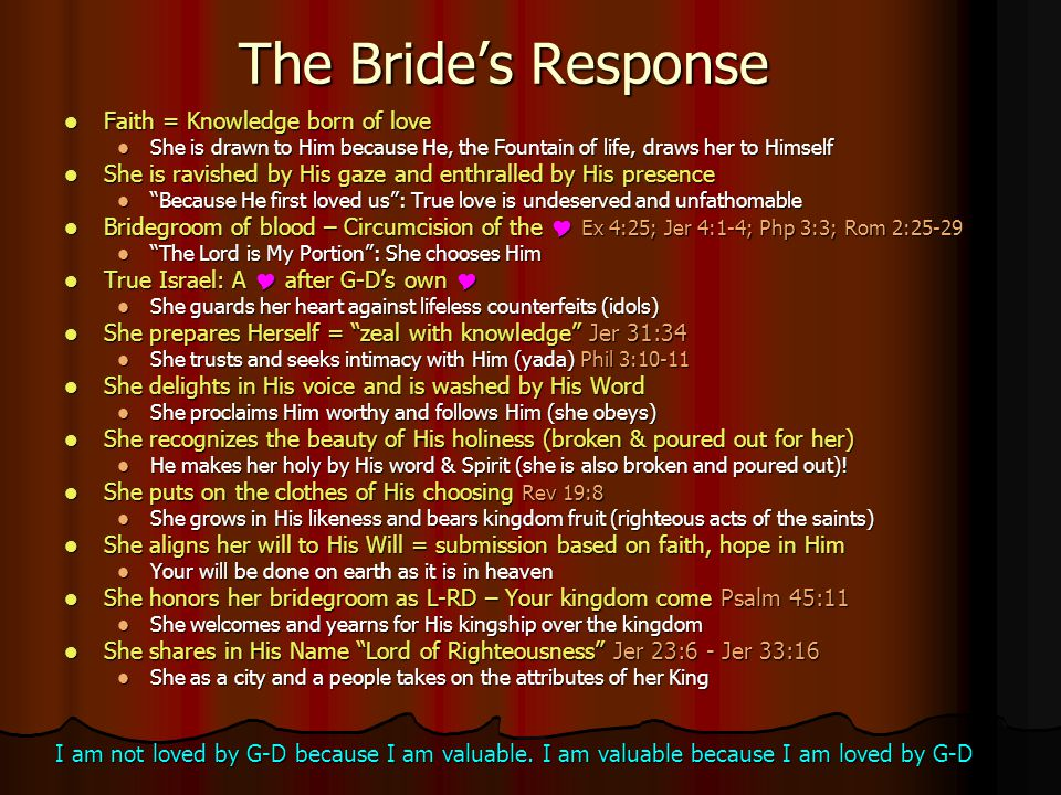 The Bride's Response Faith Faith = Knowledge born of love She She is drawn to Him because He, the Fountain of life, draws her to Himself is ravished b