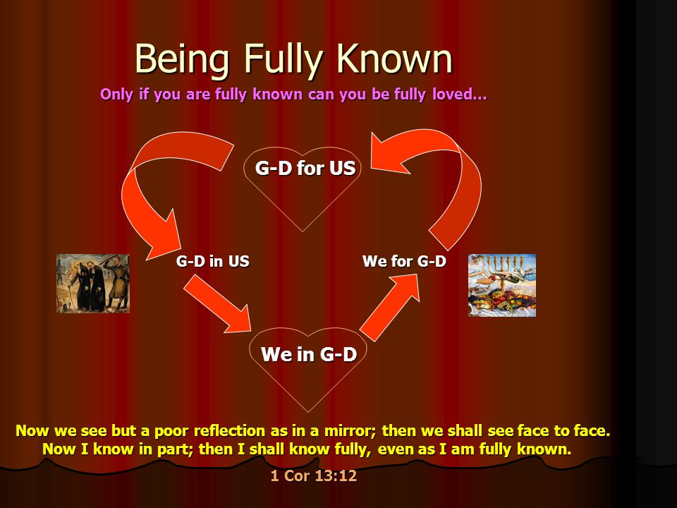 Being Fully Known G-D in US G-D for US We for G-D We in G-D Now we see but a poor reflection as in a mirror; then we shall see face to face. Now I kno