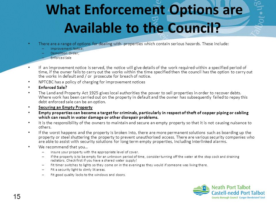 What Enforcement Options are Available to the Council.