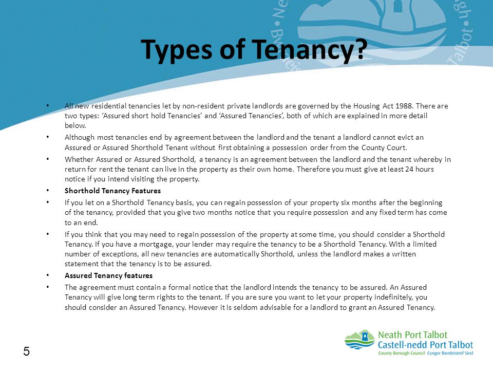 Types of Tenancy.