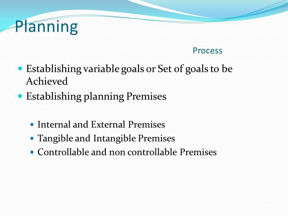 Planning Process Establishing variable goals or Set of goals to be Achieved Establishing planning Premises Internal and External Premises Tangible and Intangible Premises Controllable and non controllable Premises