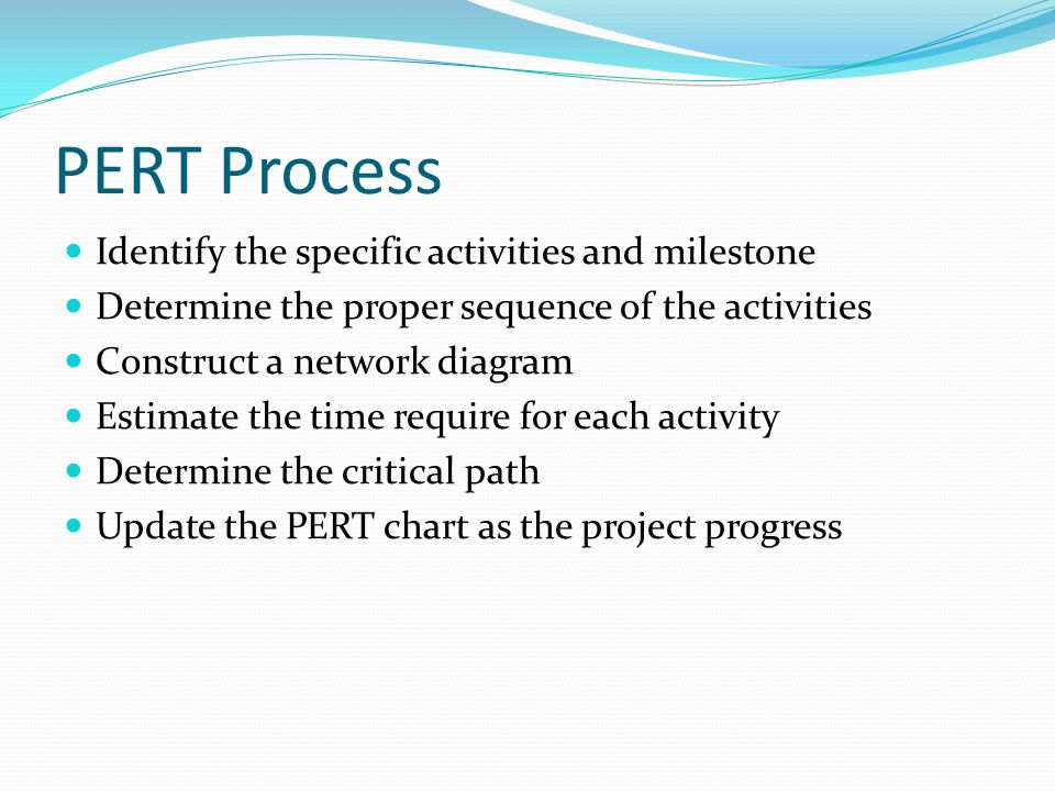 PERT Process Identify the specific activities and milestone Determine the proper sequence of the activities Construct a network diagram Estimate the time require for each activity Determine the critical path Update the PERT chart as the project progress