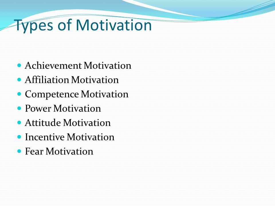 Types of Motivation Achievement Motivation Affiliation Motivation Competence Motivation Power Motivation Attitude Motivation Incentive Motivation Fear Motivation