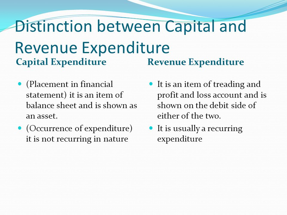 Distinction between Capital and Revenue Expenditure Capital Expenditure Revenue Expenditure (Placement in financial statement) it is an item of balance sheet and is shown as an asset.