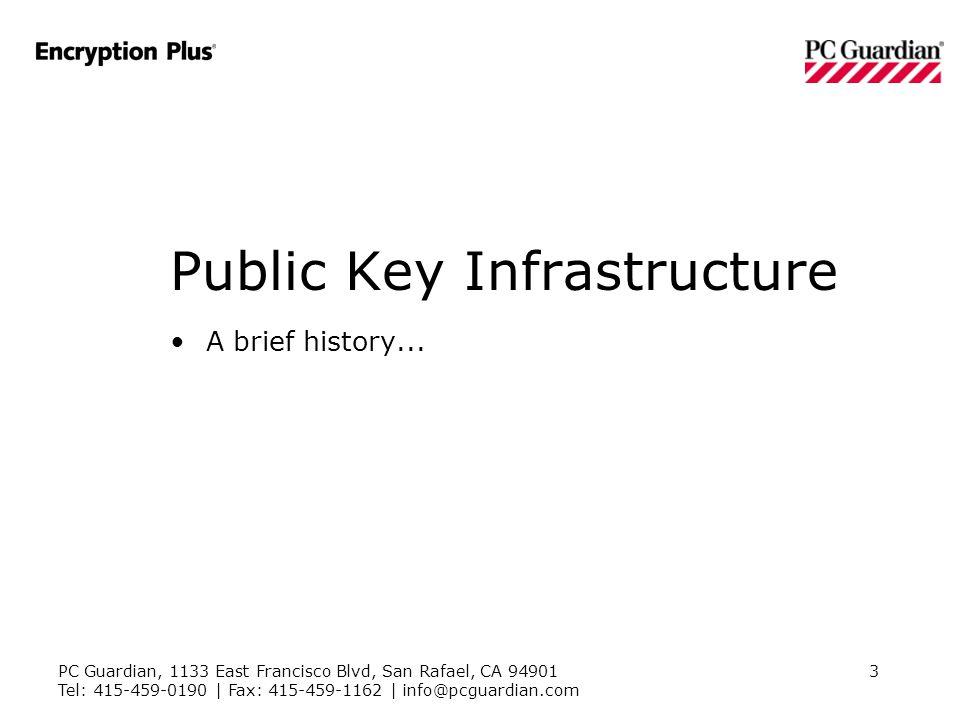 PC Guardian, 1133 East Francisco Blvd, San Rafael, CA 94901 Tel: 415-459-0190 | Fax: 415-459-1162 | info@pcguardian.com 3 Public Key Infrastructure A brief history...
