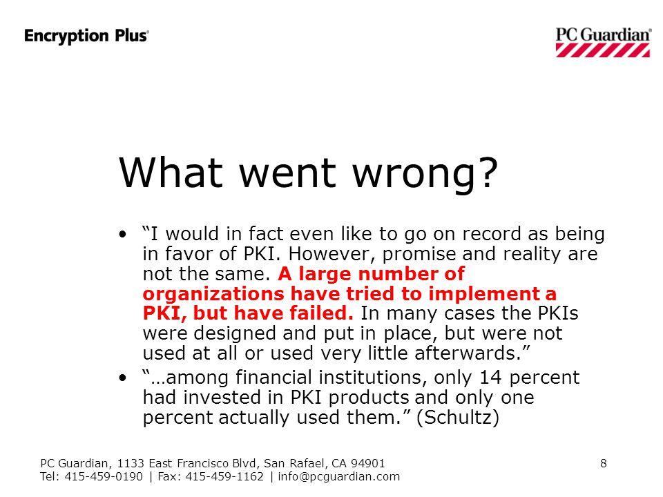 PC Guardian, 1133 East Francisco Blvd, San Rafael, CA 94901 Tel: 415-459-0190 | Fax: 415-459-1162 | info@pcguardian.com 8 What went wrong.