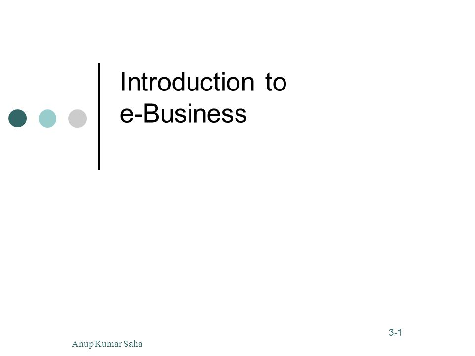 1 3-1 Anup Kumar Saha Introduction to e-Business