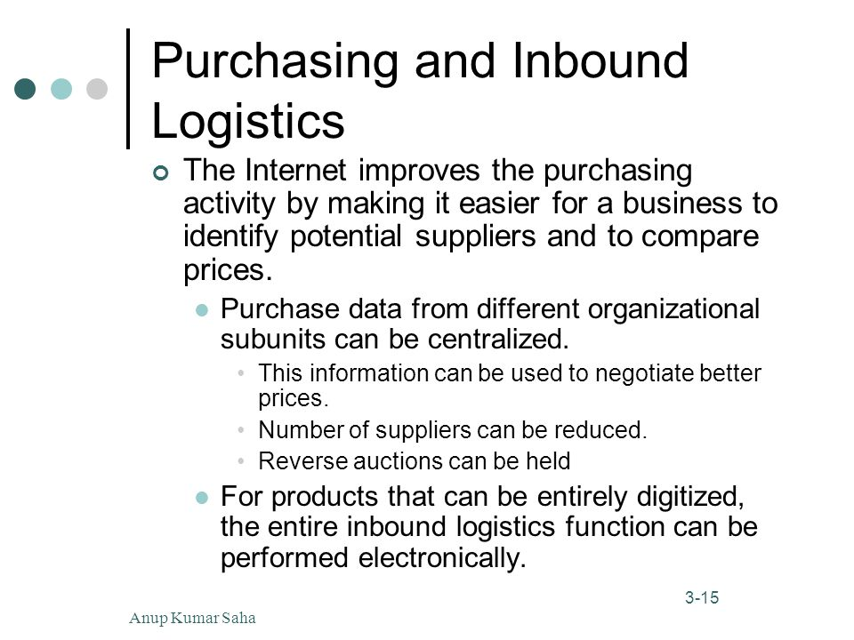 Anup Kumar Saha15 3-15 Purchasing and Inbound Logistics The Internet improves the purchasing activity by making it easier for a business to identify potential suppliers and to compare prices.