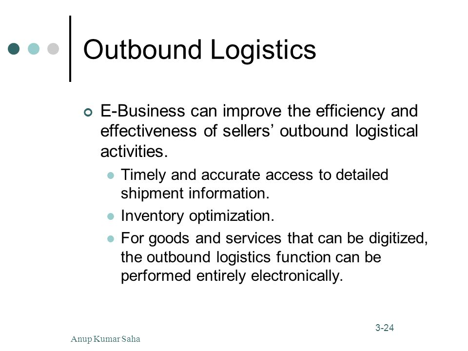 Anup Kumar Saha24 3-24 Outbound Logistics E-Business can improve the efficiency and effectiveness of sellers' outbound logistical activities.