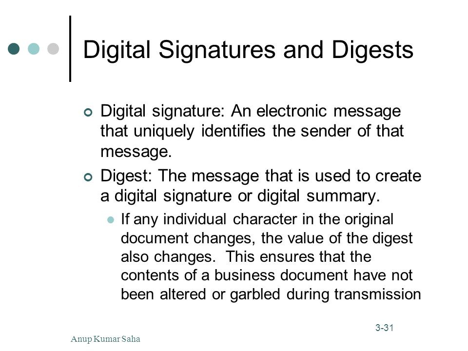 Anup Kumar Saha31 3-31 Digital Signatures and Digests Digital signature: An electronic message that uniquely identifies the sender of that message.