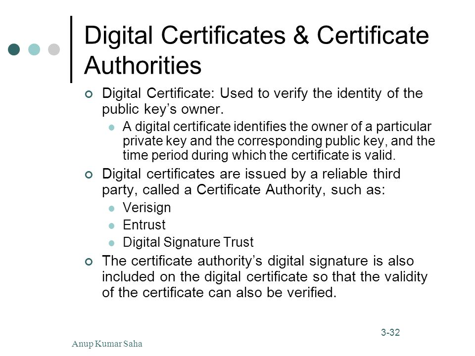 Anup Kumar Saha32 3-32 Digital Certificates & Certificate Authorities Digital Certificate: Used to verify the identity of the public key's owner.