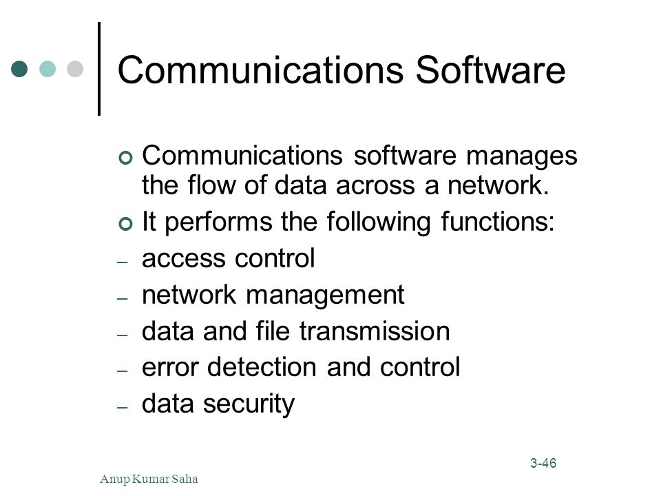 Anup Kumar Saha46 3-46 Communications Software Communications software manages the flow of data across a network.