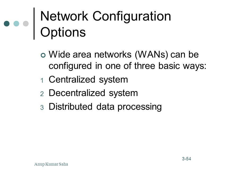 Anup Kumar Saha54 3-54 Network Configuration Options Wide area networks (WANs) can be configured in one of three basic ways: 1 Centralized system 2 Decentralized system 3 Distributed data processing
